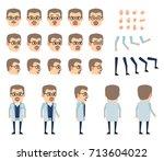 professor in white lab coat... | Shutterstock .eps vector #713604022