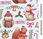 watercolor christmas... | Shutterstock . vector #713604952