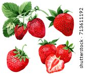 strawberry healthy food in a... | Shutterstock . vector #713611192