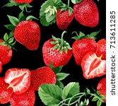 strawberry healthy food pattern ... | Shutterstock . vector #713611285