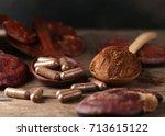 ganoderma lucidum mushroom on... | Shutterstock . vector #713615122