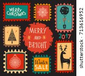 holiday christmas marks. icons  ... | Shutterstock . vector #713616952