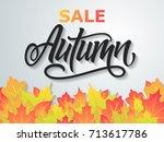 autumn sale flyer on a...   Shutterstock .eps vector #713617786