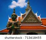 thai style statue of wat arun ... | Shutterstock . vector #713618455