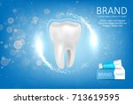 whitening toothpaste ad.... | Shutterstock . vector #713619595