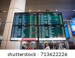 Small photo of 10th September 2017,KLIA,Malaysia.Flight arrivals electronic signage board at an international airport.