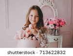 little cute princess girl in... | Shutterstock . vector #713622832