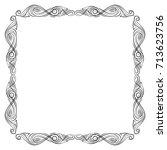 vector frame. calligraphic... | Shutterstock .eps vector #713623756
