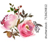pink peach watercolor floral... | Shutterstock . vector #713624812