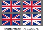 uk grunge flag set. british and ... | Shutterstock .eps vector #713628076