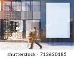 gray cafe exterior with large... | Shutterstock . vector #713630185