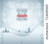 christmas background with retro ... | Shutterstock . vector #713630365