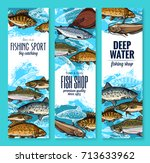 fishing and seafood banners set....   Shutterstock .eps vector #713633962