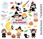 halloween cute design elements... | Shutterstock .eps vector #713636692
