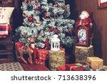 beautiful christmas interior... | Shutterstock . vector #713638396