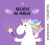 cute magical white unicorn with ... | Shutterstock . vector #713638756