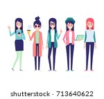 fashion girls vector set 3.... | Shutterstock .eps vector #713640622