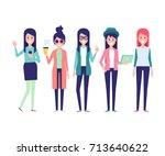 fashion girls vector set 3.... | Shutterstock .eps vector #713640622