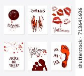 vector set of halloween poster... | Shutterstock .eps vector #713641606