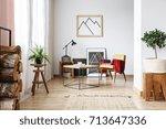 simple wooden design in open...   Shutterstock . vector #713647336