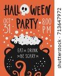 vector halloween party poster...   Shutterstock .eps vector #713647972