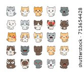 cute cartoon cats and dogs with ... | Shutterstock .eps vector #713654428