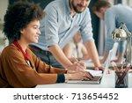 businessman helping colleague...   Shutterstock . vector #713654452