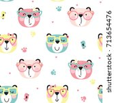 Stock vector seamless pattern of cute bears in different fashionable glasses in cartoon style illustration for 713654476