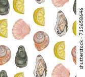 seamless texture of seafood.... | Shutterstock . vector #713658646