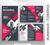 business brochure template in... | Shutterstock .eps vector #713665012