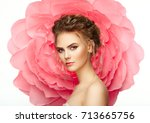 beautiful woman on the... | Shutterstock . vector #713665756