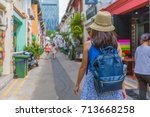 young asian woman traveler with ... | Shutterstock . vector #713668258