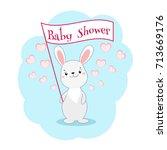 baby shower invitation card... | Shutterstock .eps vector #713669176