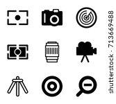 focus icons set. set of 9 focus ... | Shutterstock .eps vector #713669488
