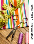 sewing thread and sewing... | Shutterstock . vector #713674036