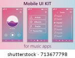 mobile music app. mobile ui kit.... | Shutterstock .eps vector #713677798