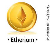 etherium. gold coin with...   Shutterstock .eps vector #713678752