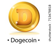 dogecoin. gold coin with... | Shutterstock .eps vector #713678818