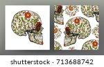 set of human skull and seamless ...