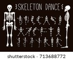 dancing skeletons set.  | Shutterstock .eps vector #713688772