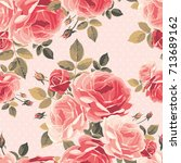seamless pattern with roses.... | Shutterstock .eps vector #713689162
