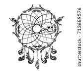 dream catcher skull vector | Shutterstock .eps vector #713689576