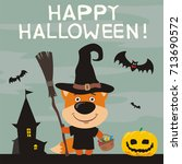 happy halloween  greeting card... | Shutterstock .eps vector #713690572