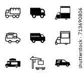 van icons set. set of 9 van... | Shutterstock .eps vector #713690806