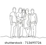 happy family sketch  outlines ... | Shutterstock .eps vector #713695726