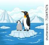 cartoon mother and baby penguin ... | Shutterstock .eps vector #713697676