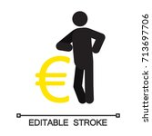 man lean on yen sign silhouette ... | Shutterstock .eps vector #713697706