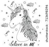 head of hand drawn unicorn on... | Shutterstock .eps vector #713698396