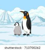 cartoon mother and baby penguin ... | Shutterstock .eps vector #713700262