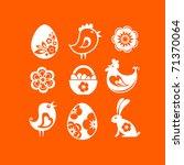 White Easter Icons On Orange...